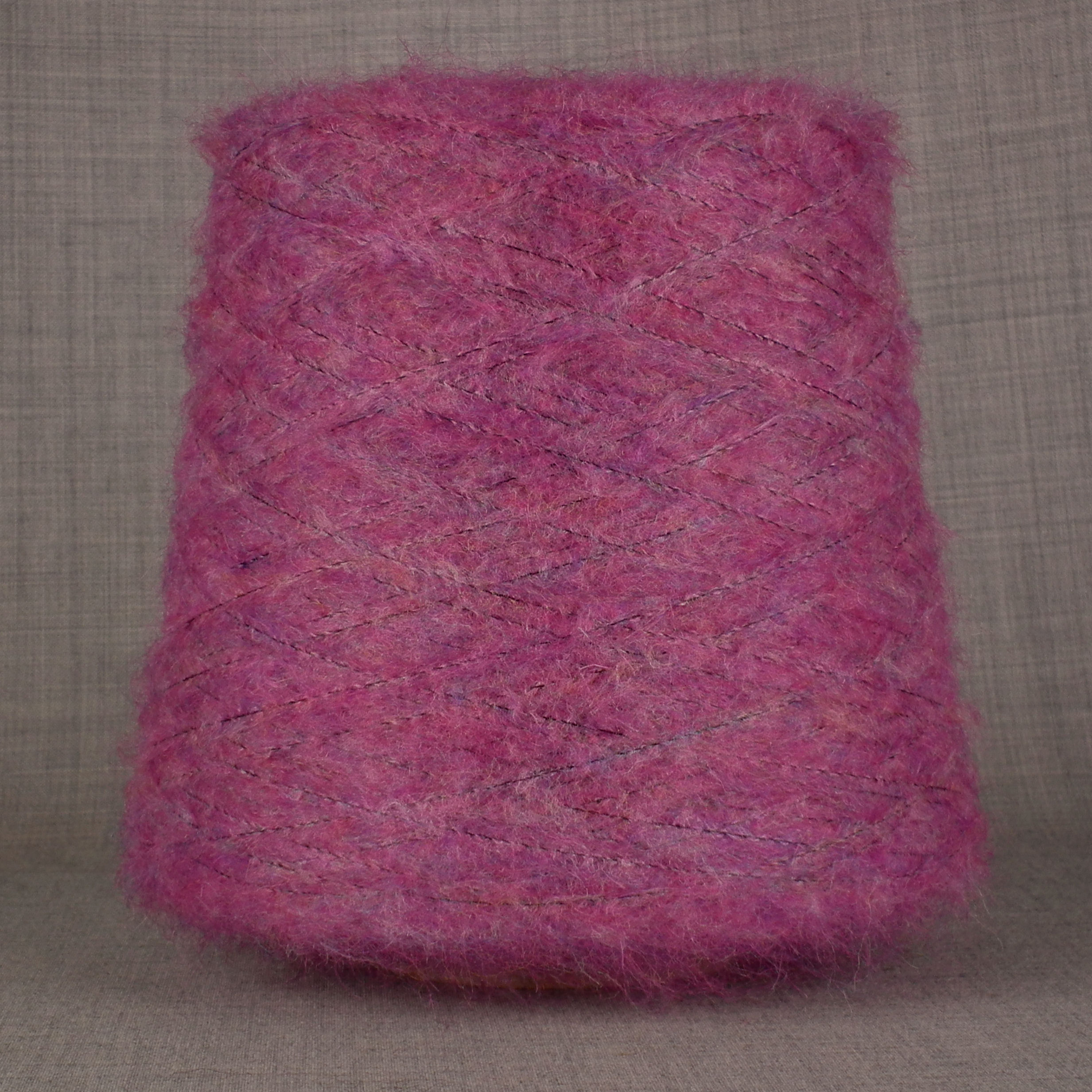 mohair wool viscose blend 4 ply yarn on cone soft fluffy warm knitting uk mulberry pink