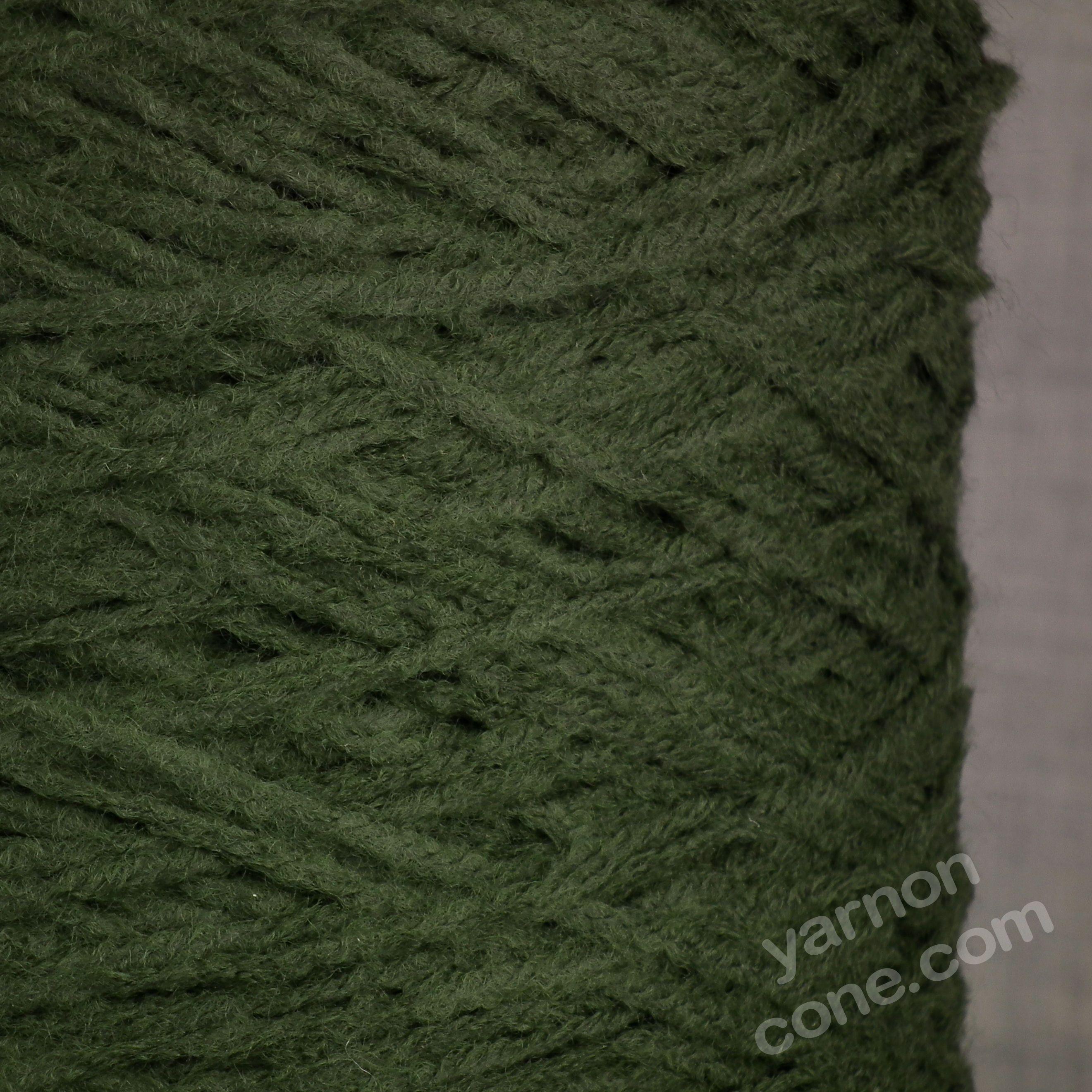 soft quality 4 ply dk double knitting wool blend knitting yarn on cone dark moss green