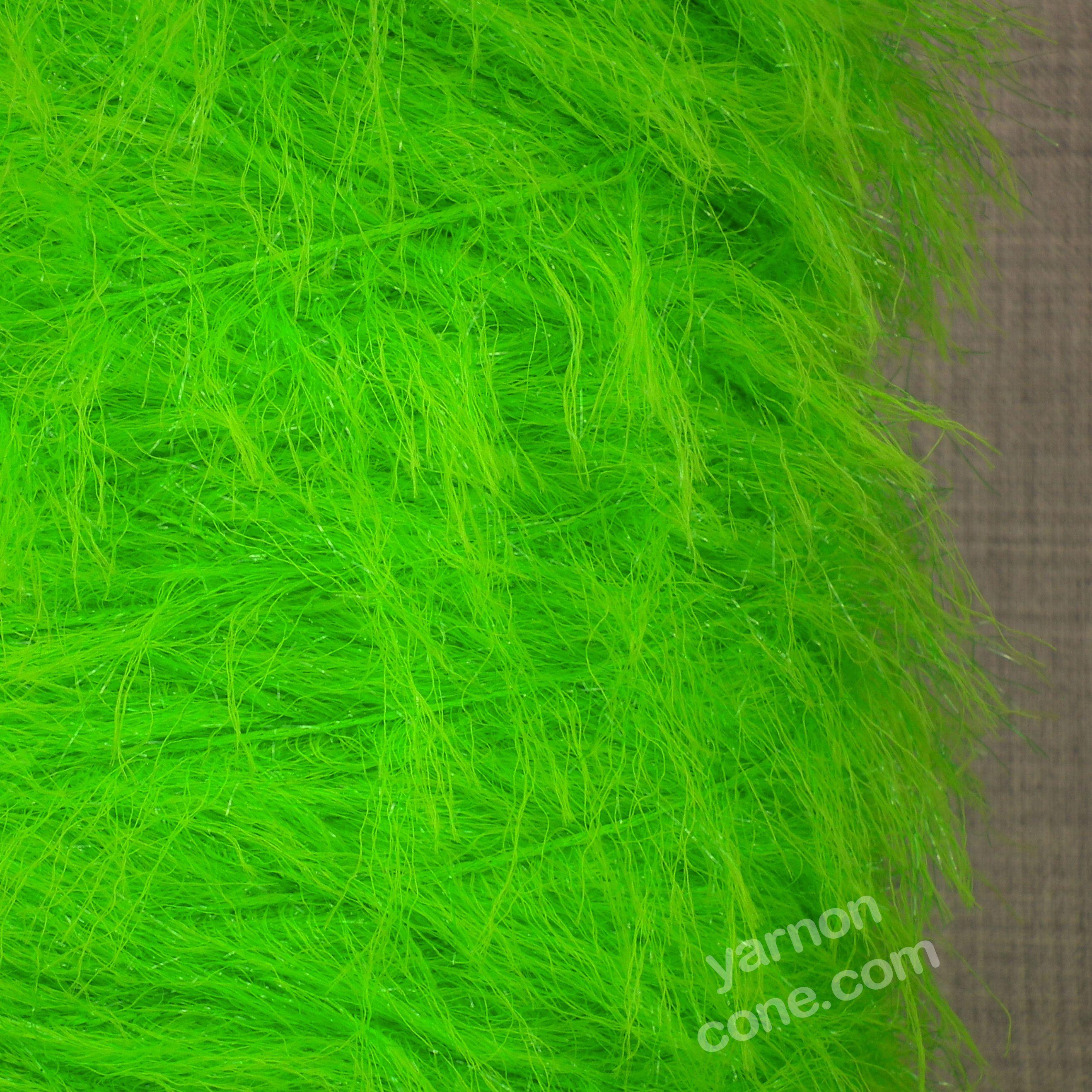 Feather Glitter Yarn Dk Lime Green Yarn On Cone