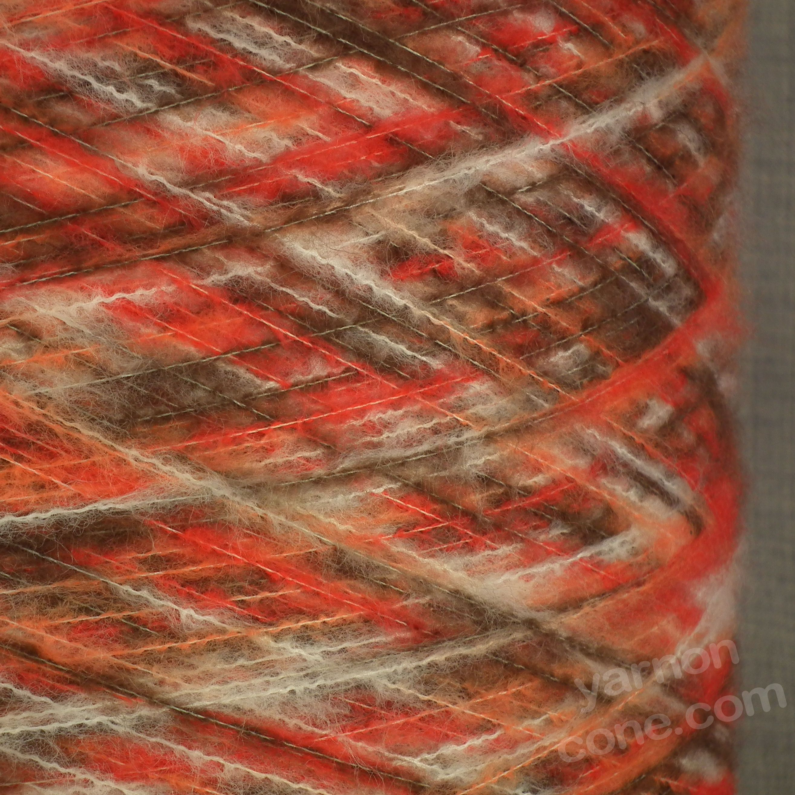 Soft brushed space dyed dye yarn rust mohair feel on cone