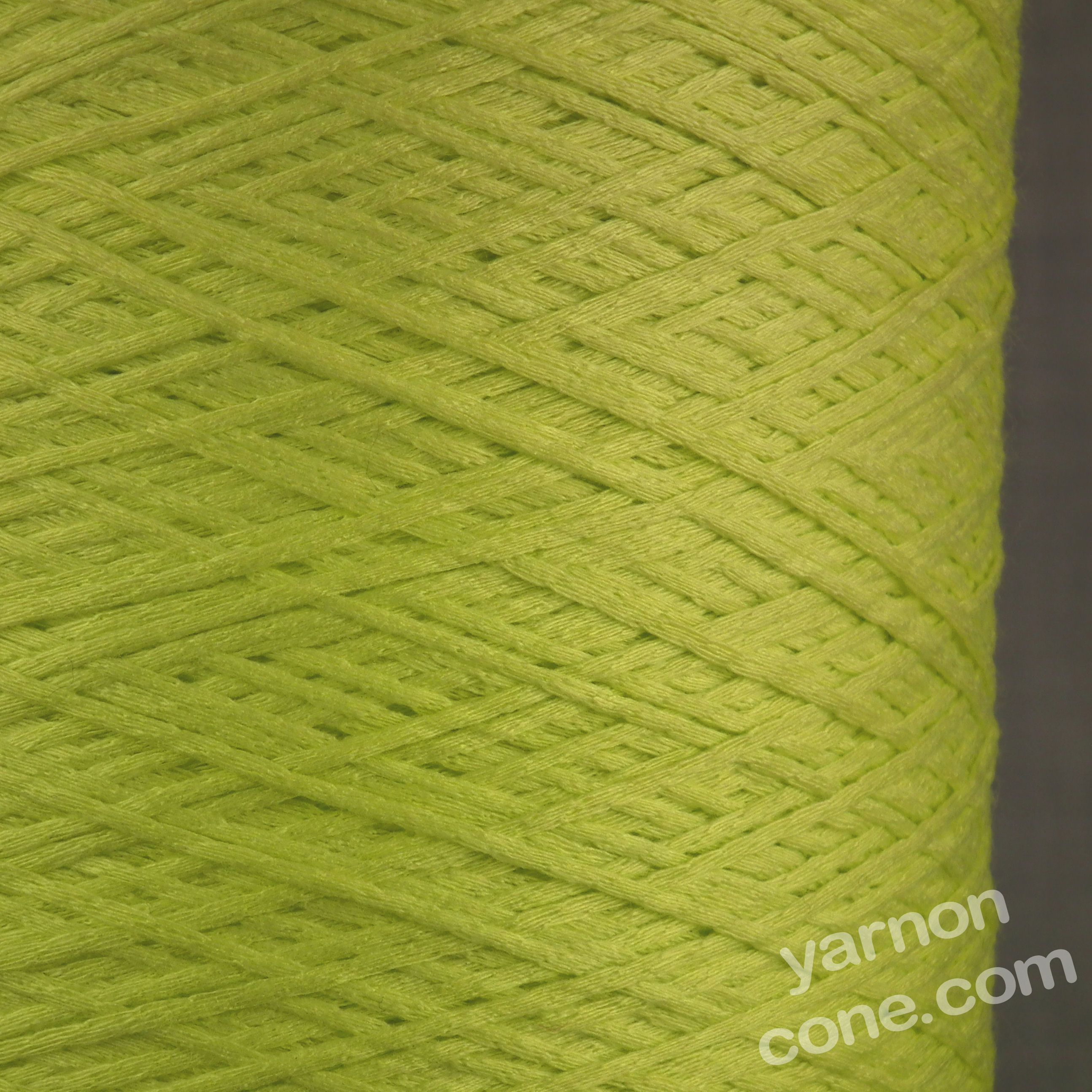 Italian soft tape chainette ribbon fettuccina yarn lime green 4 ply on cone