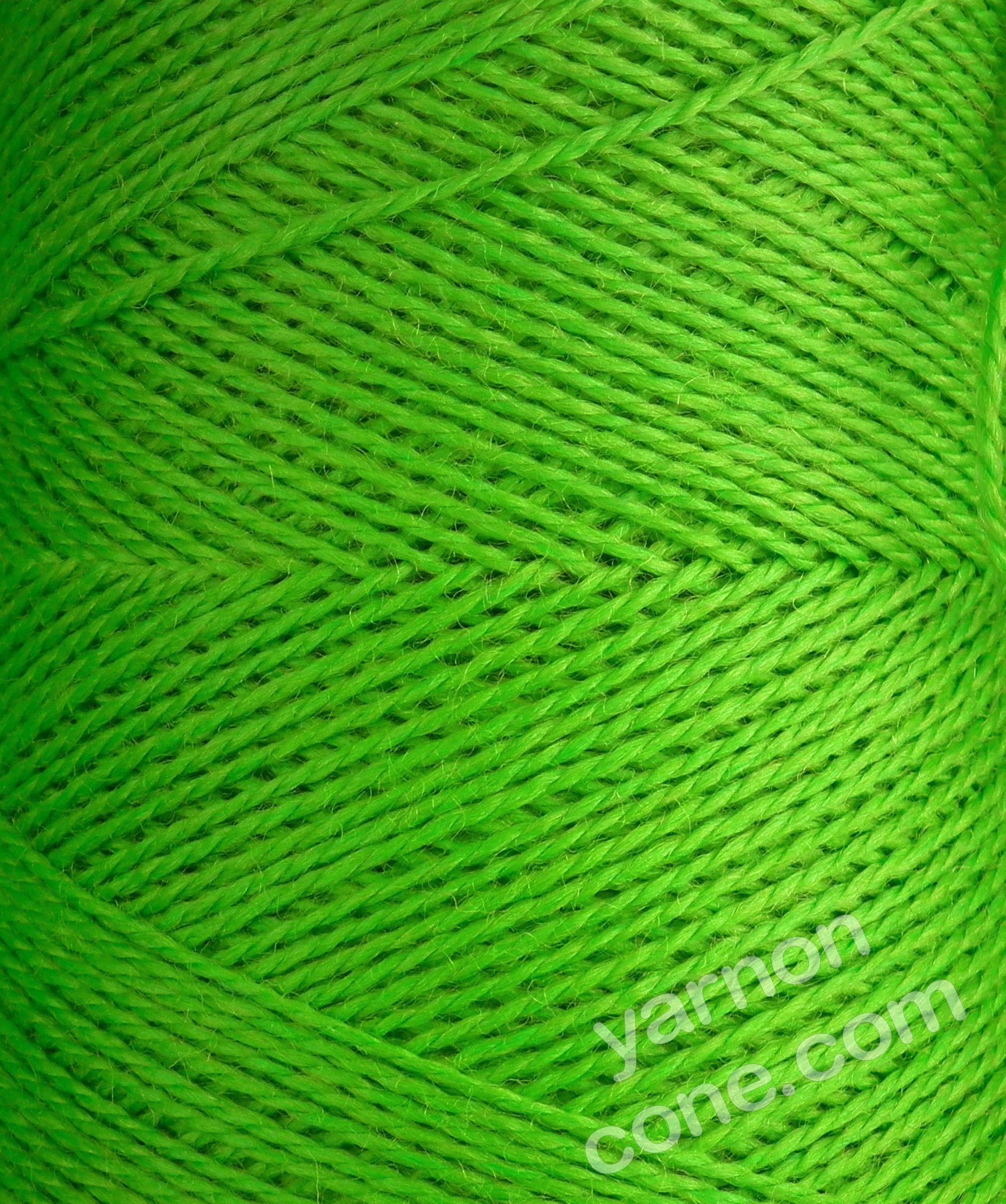 Jura weaving wool 4 ply yarn cone lime green