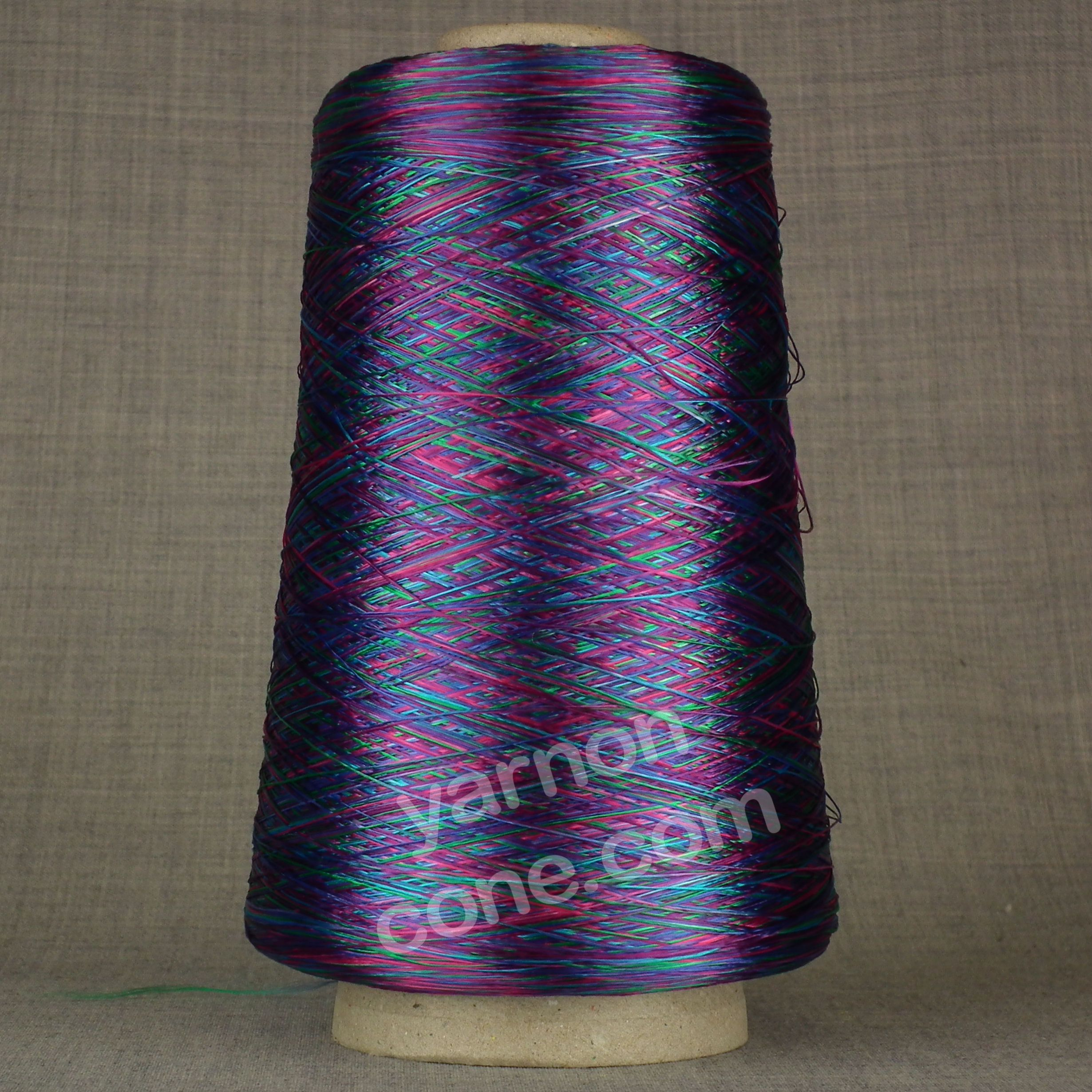 laceweight purple pink space dyed dye viscose rayon yarn on cone hand machine knitting weaving crochet