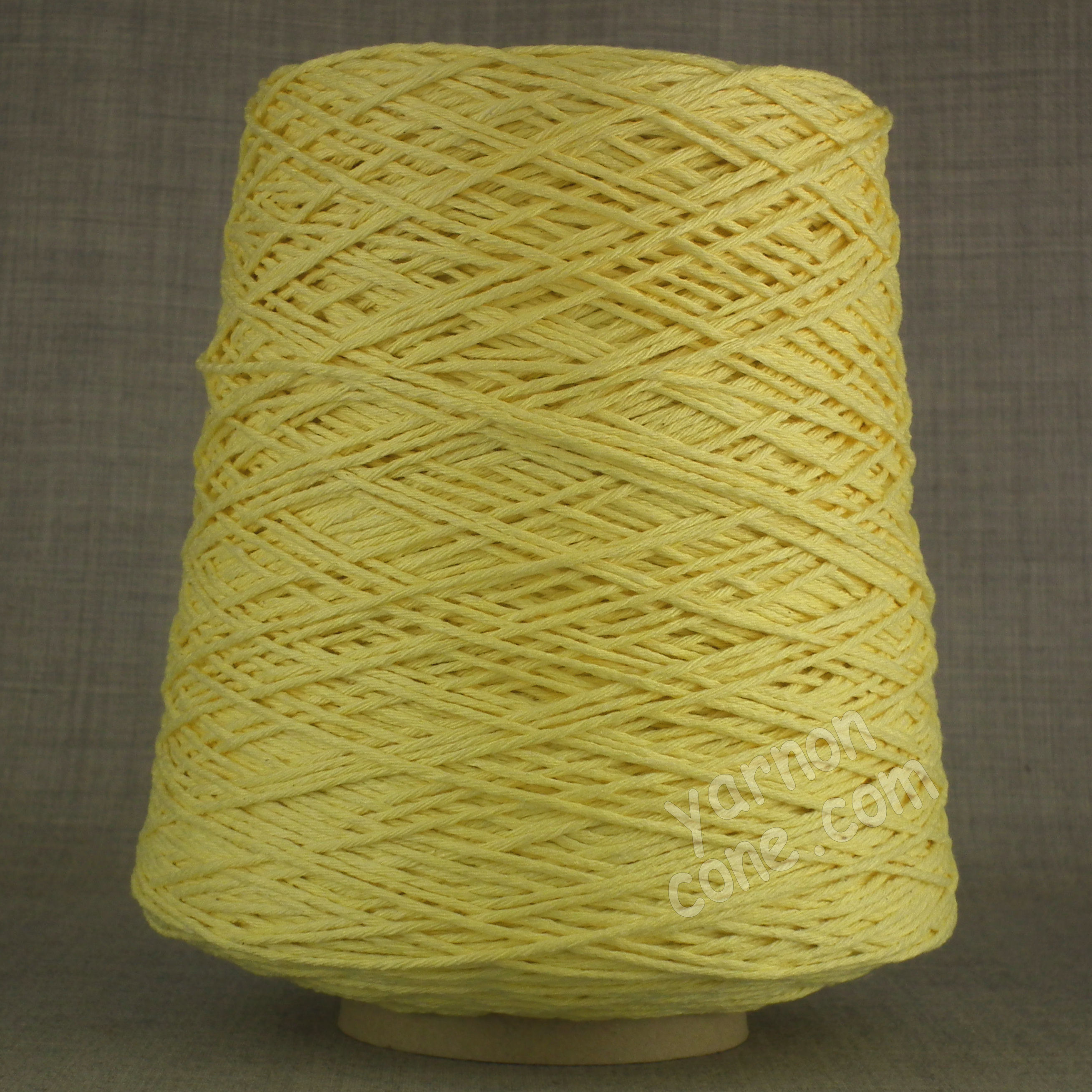 Double knitting DK soft pure cotton yarn on cone hand machine knitting weaving crochet primrose yellow pastel light