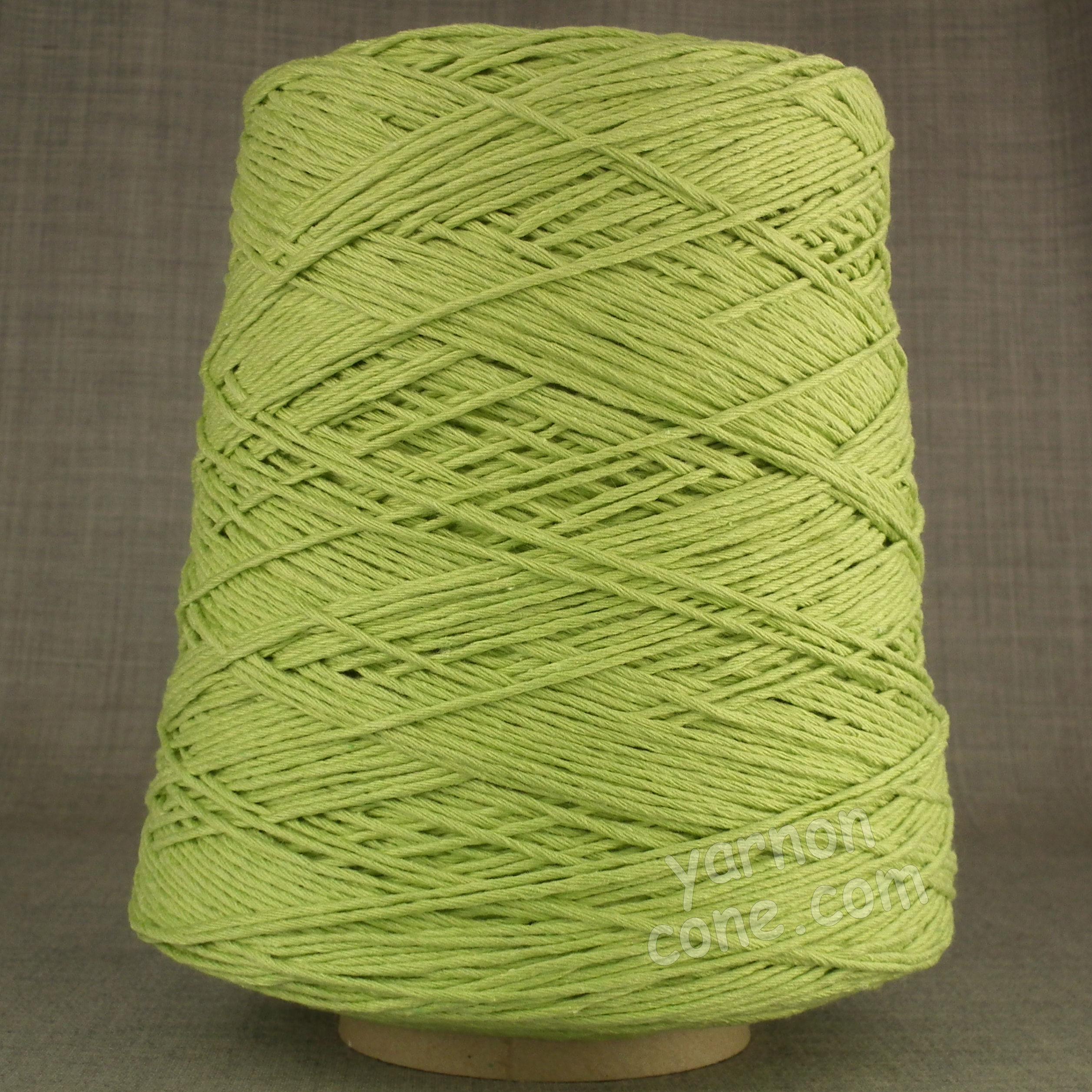 Double knitting DK soft pure cotton yarn on cone hand machine knitting weaving crochet pistachio green light