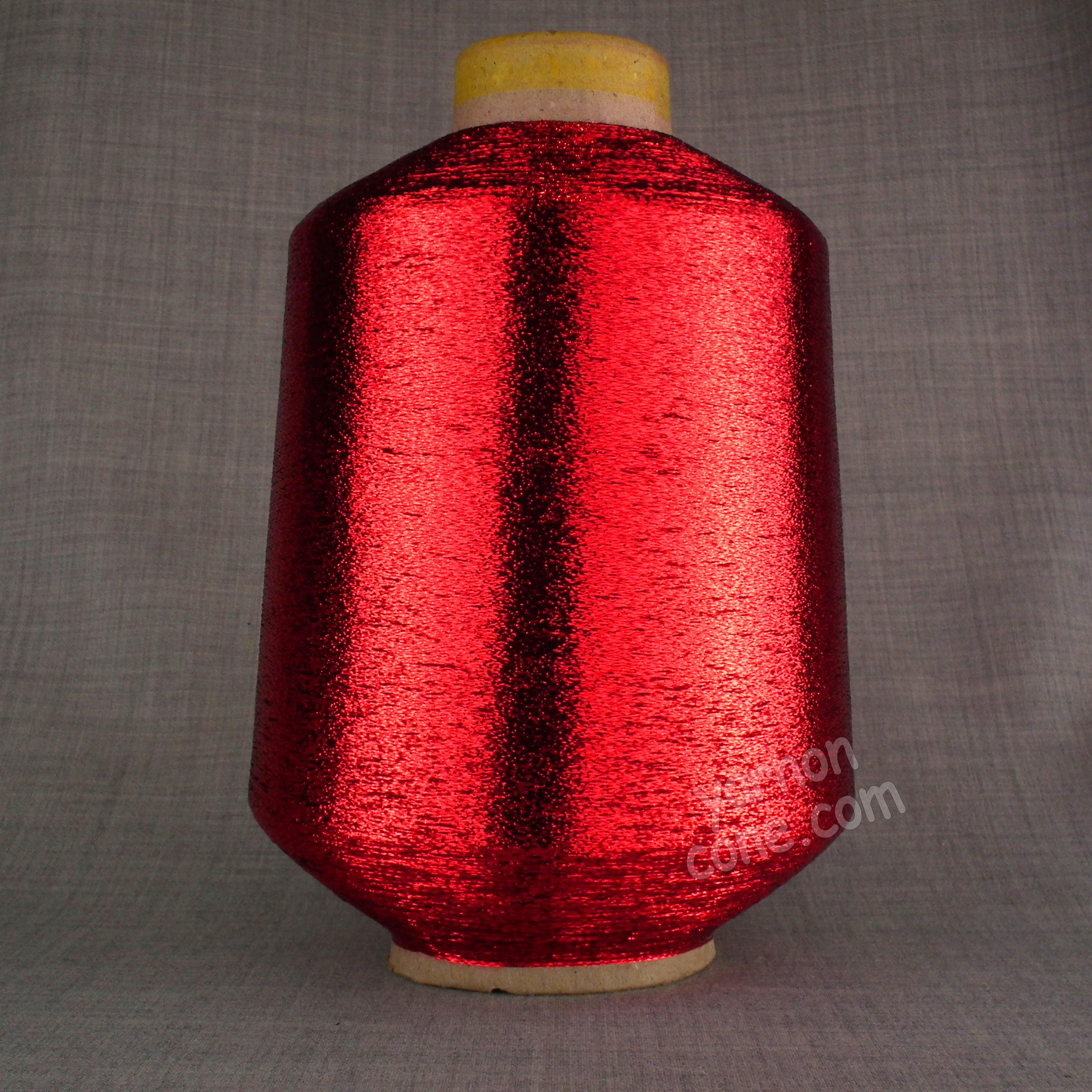fine lurex metallic knitting machine coned yarn glitter sparkle shimmer red